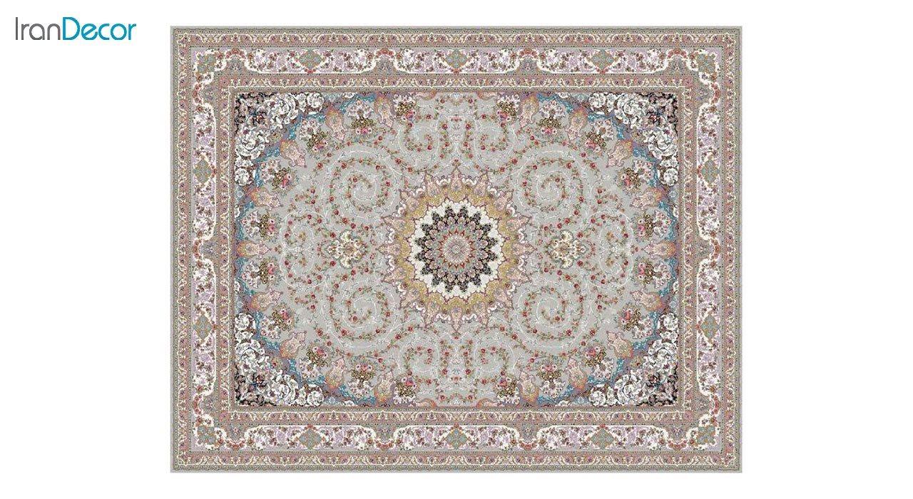 تصویر فرش ماشینی 1200 شانه کشمیر طرح مهدخت نقره ای
