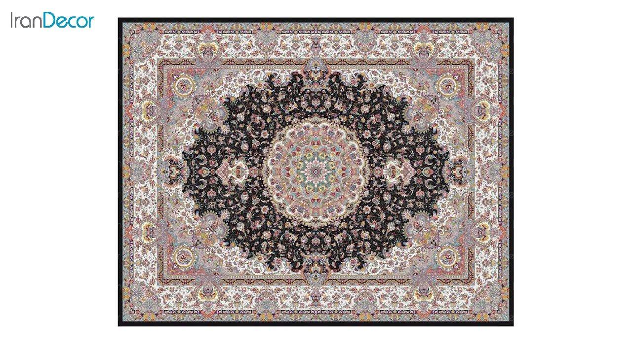 تصویر فرش ماشینی 1200 شانه کشمیر طرح آدینه مشکی