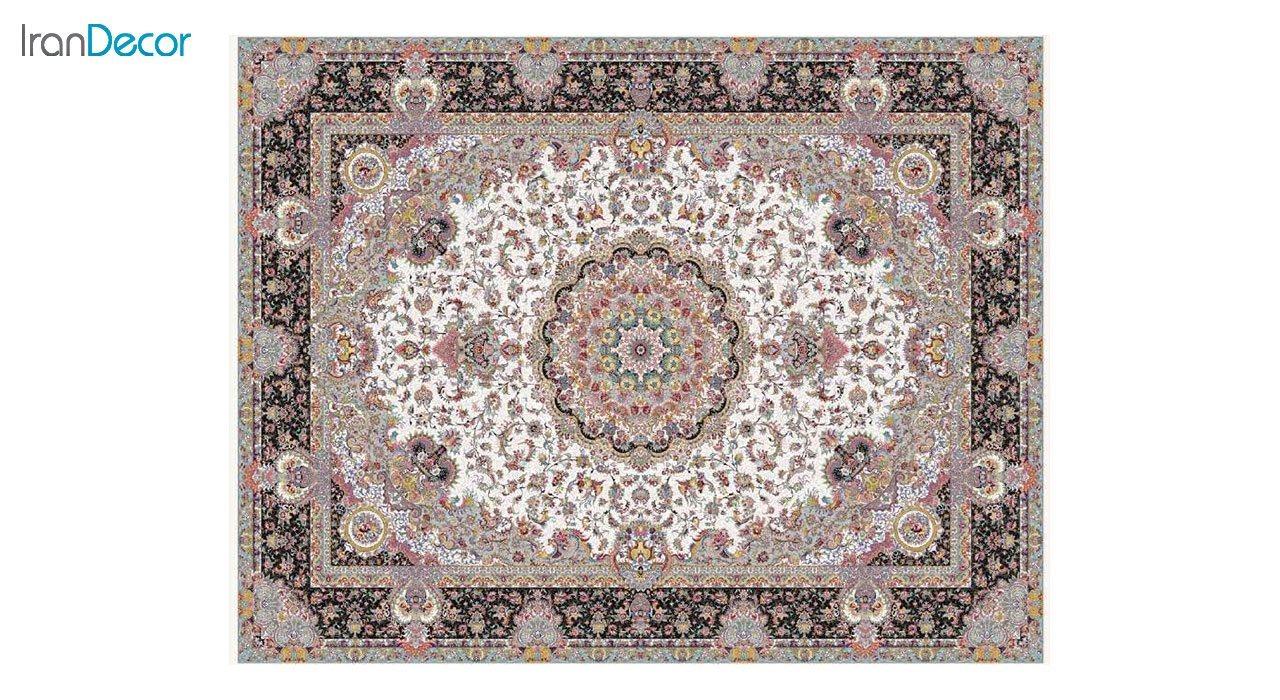 تصویر فرش ماشینی 1200 شانه کشمیر طرح آدینه کرم