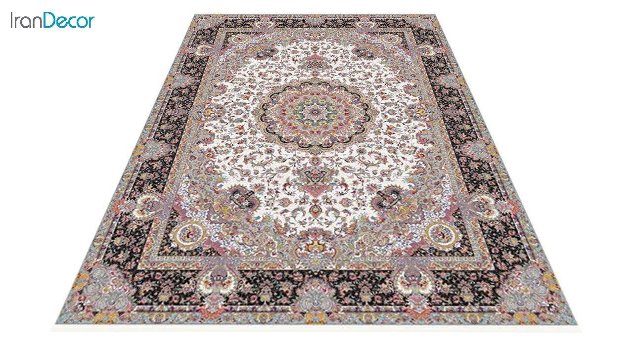 عکس فرش ماشینی 1200 شانه کشمیر طرح آدینه کرم