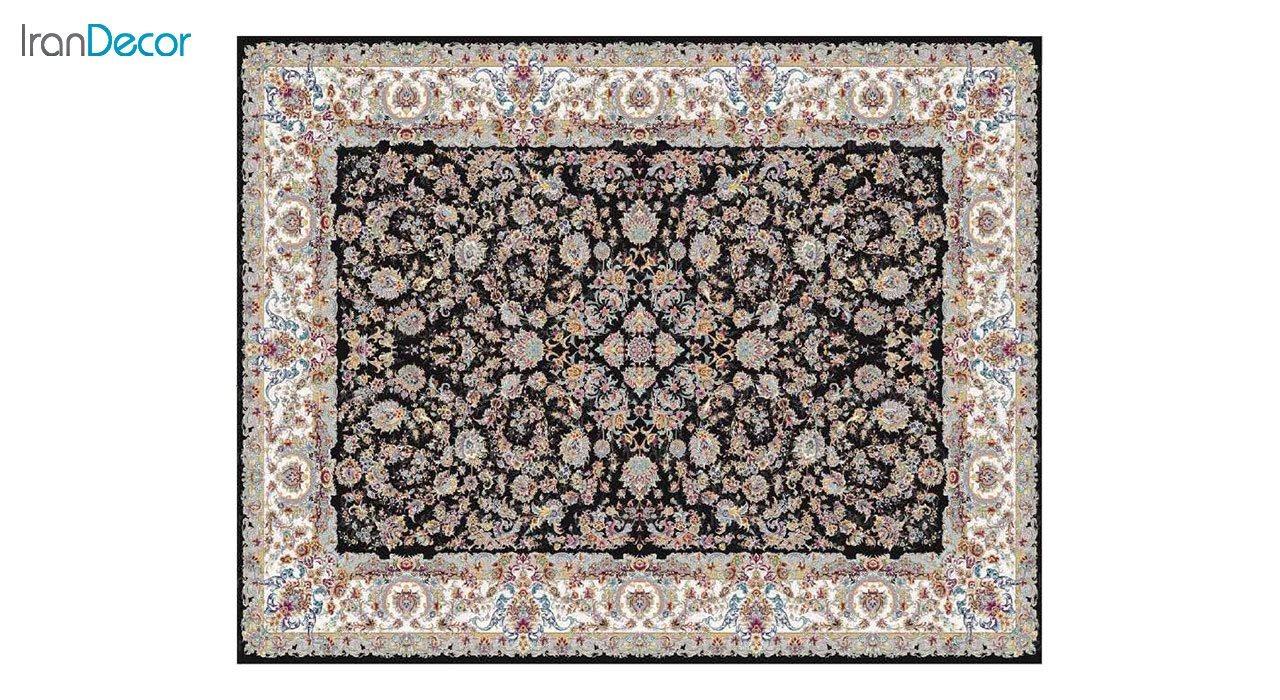 تصویر فرش ماشینی 1200 شانه کشمیر طرح تبریز مشکی
