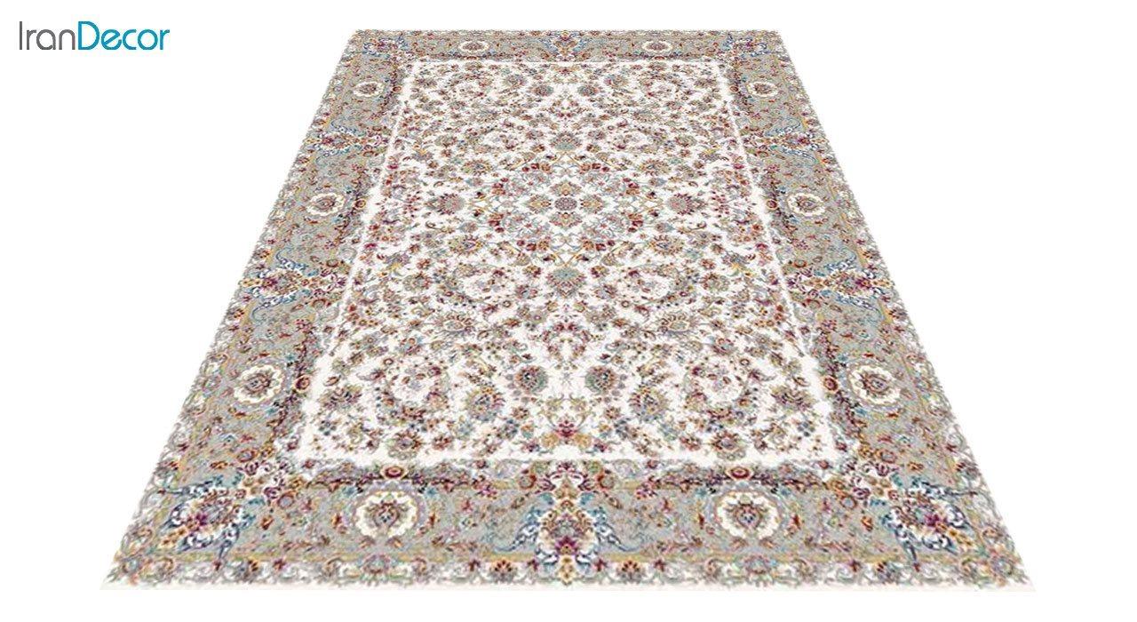 عکس فرش ماشینی 1200 شانه کشمیر طرح تبریز کرم