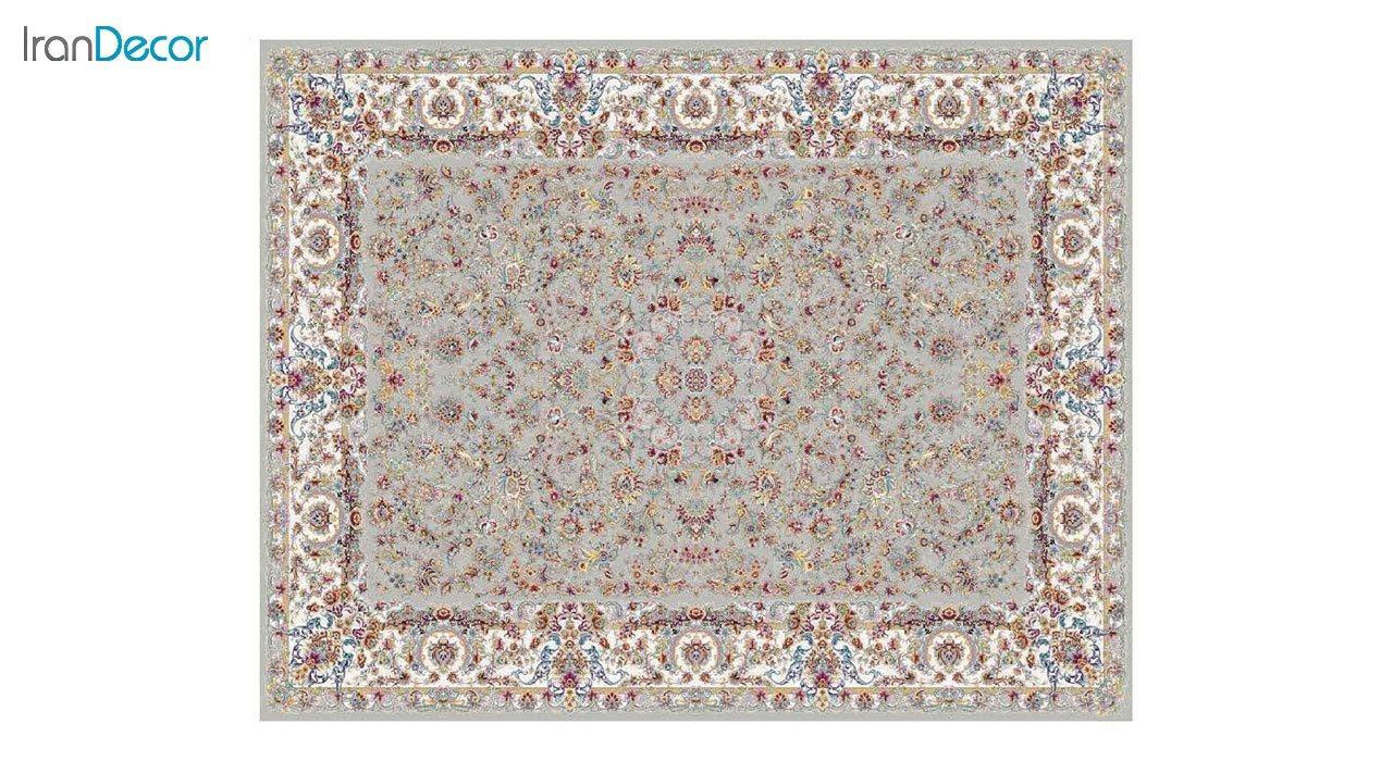 تصویر فرش ماشینی 1200 شانه کشمیر طرح تبریز نقره ای