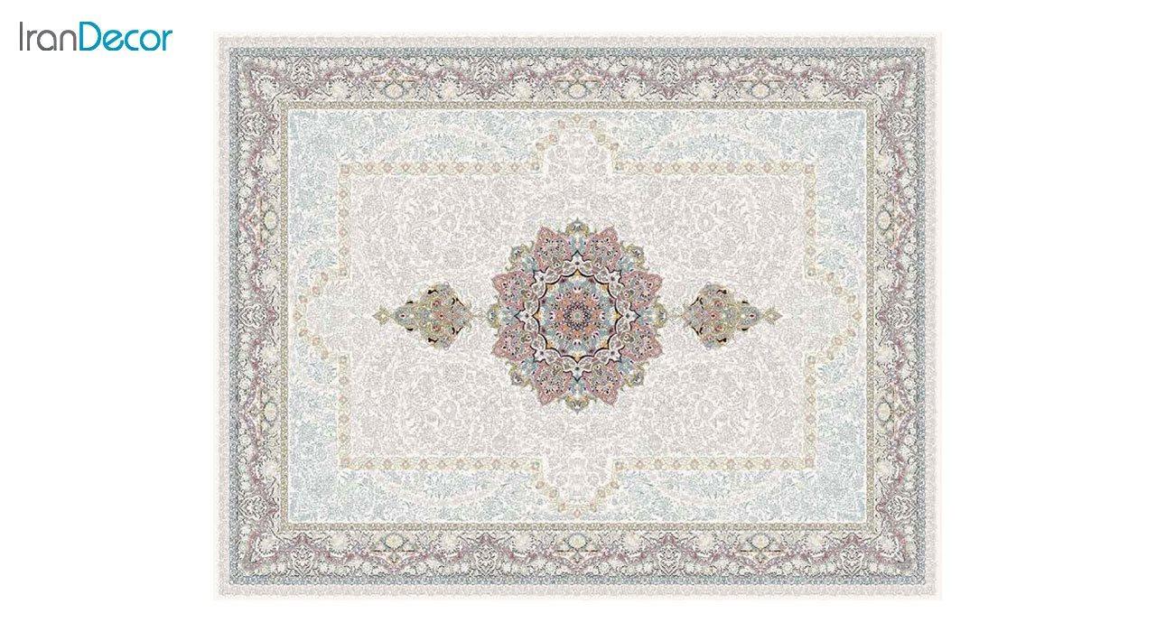 تصویر فرش ماشینی 1200 شانه کشمیر طرح ستایش کرم