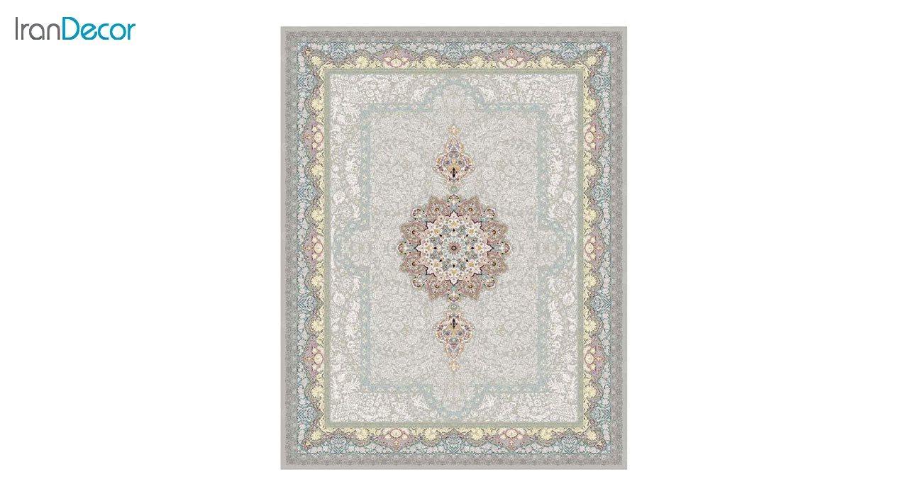 تصویر فرش ماشینی 1200 شانه کشمیر طرح ستایش نقره ای