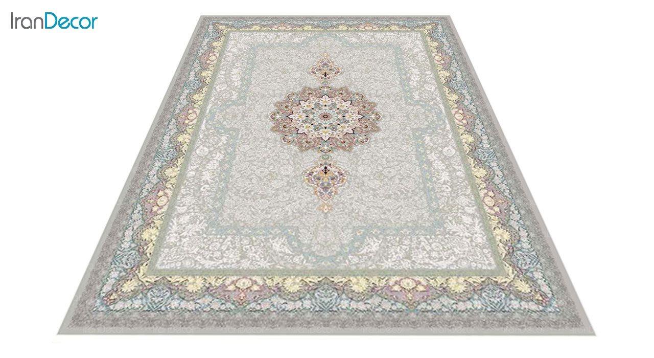 عکس فرش ماشینی 1200 شانه کشمیر طرح ستایش نقره ای