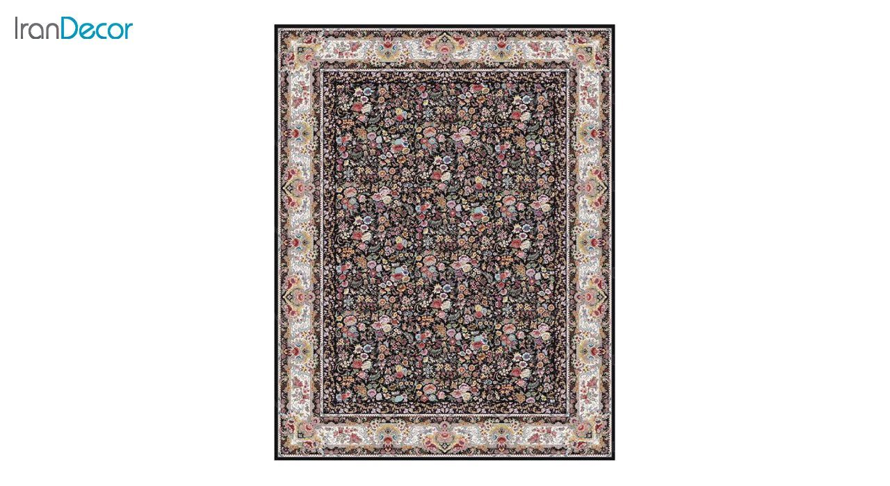 تصویر فرش ماشینی 1200 شانه کشمیر طرح باغ گل مشکی