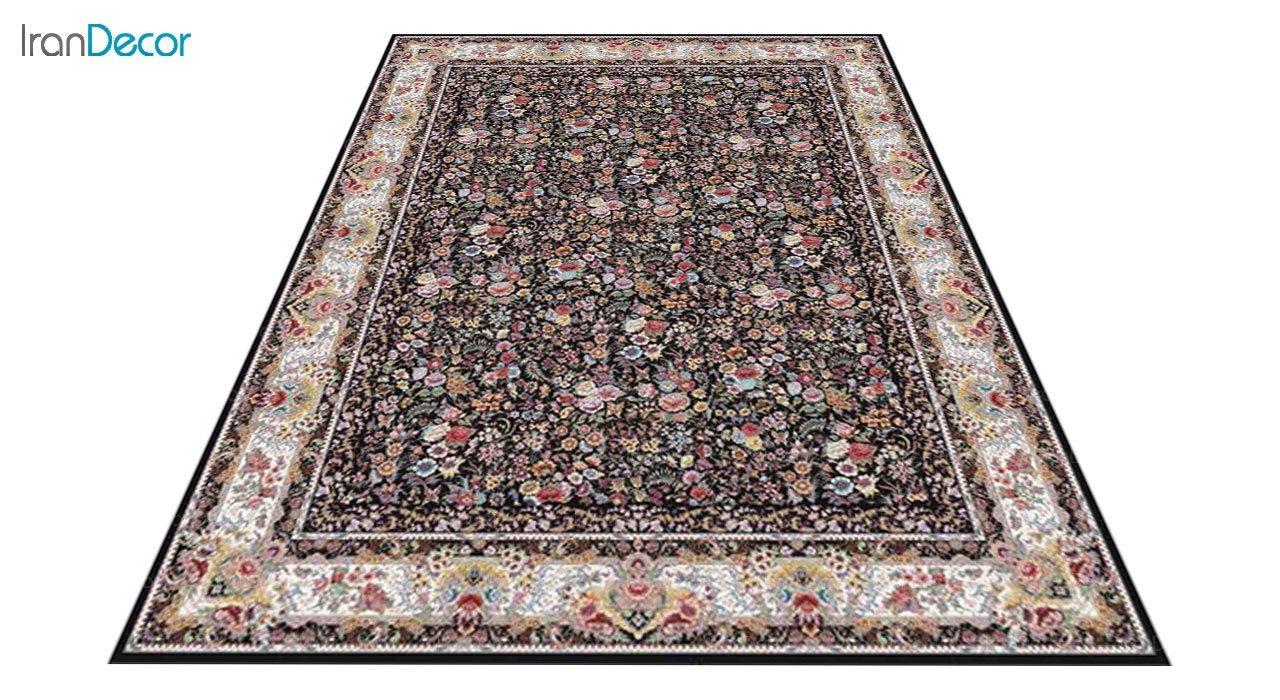 عکس فرش ماشینی 1200 شانه کشمیر طرح باغ گل مشکی