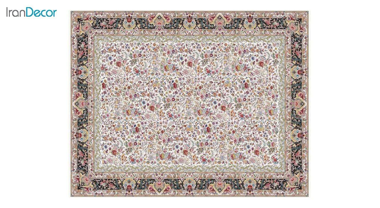 تصویر فرش ماشینی 1200 شانه کشمیر طرح باغ گل کرم