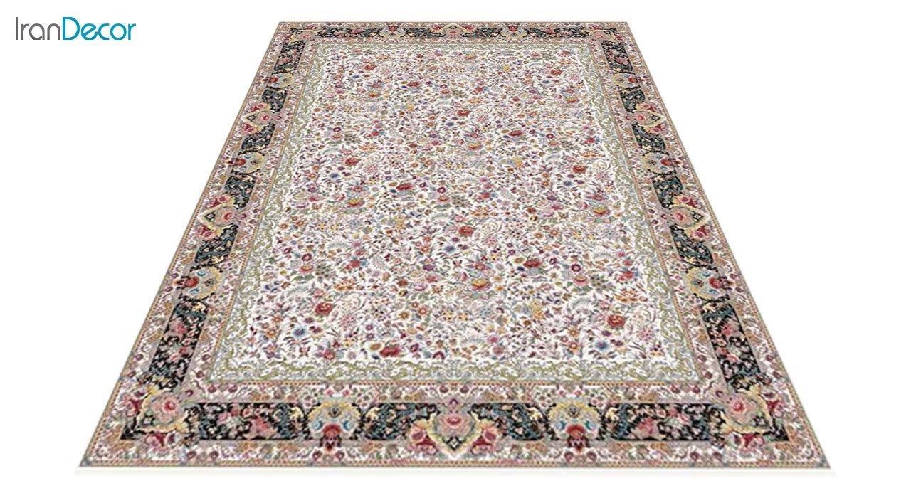 عکس فرش ماشینی 1200 شانه کشمیر طرح باغ گل کرم