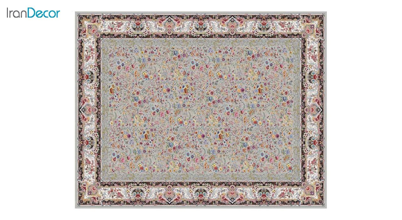 تصویر فرش ماشینی 1200 شانه کشمیر طرح باغ گل نقره ای