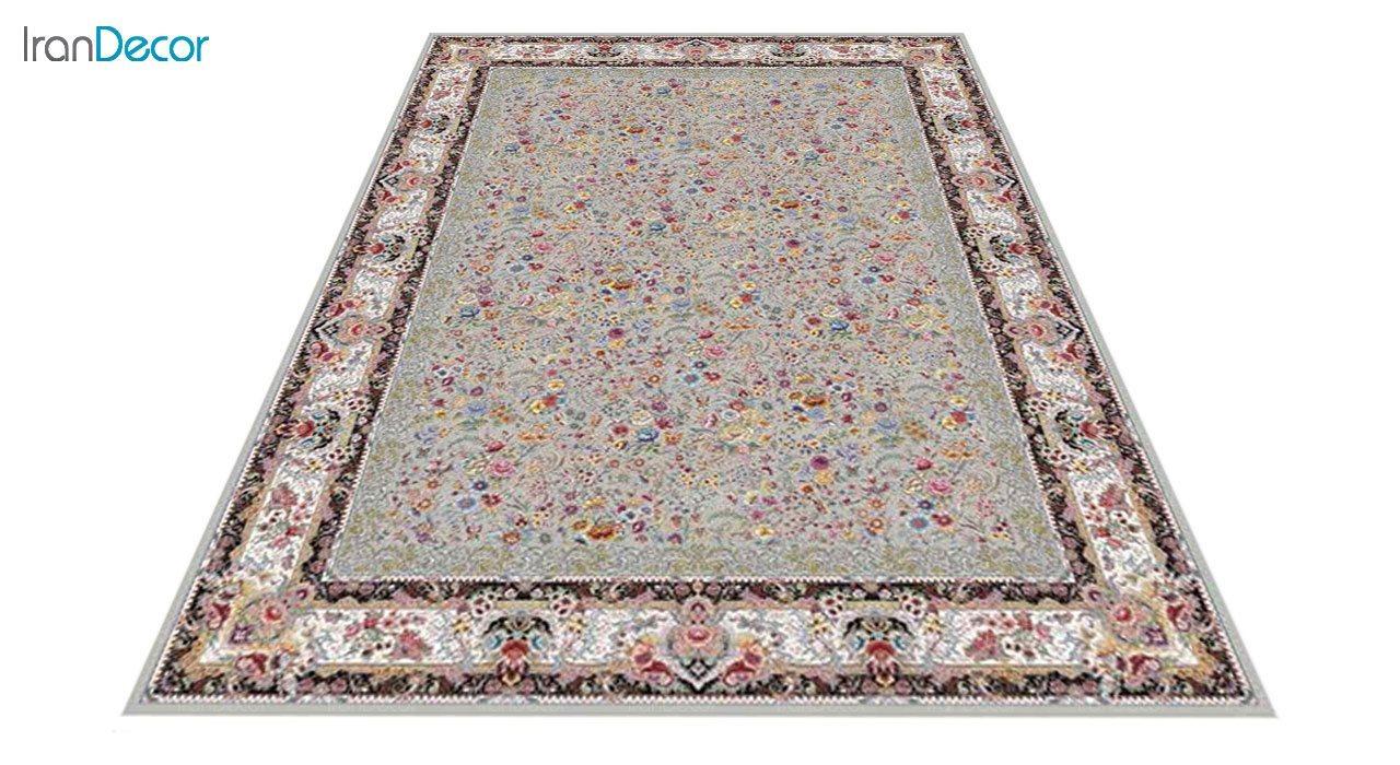 عکس فرش ماشینی 1200 شانه کشمیر طرح باغ گل نقره ای