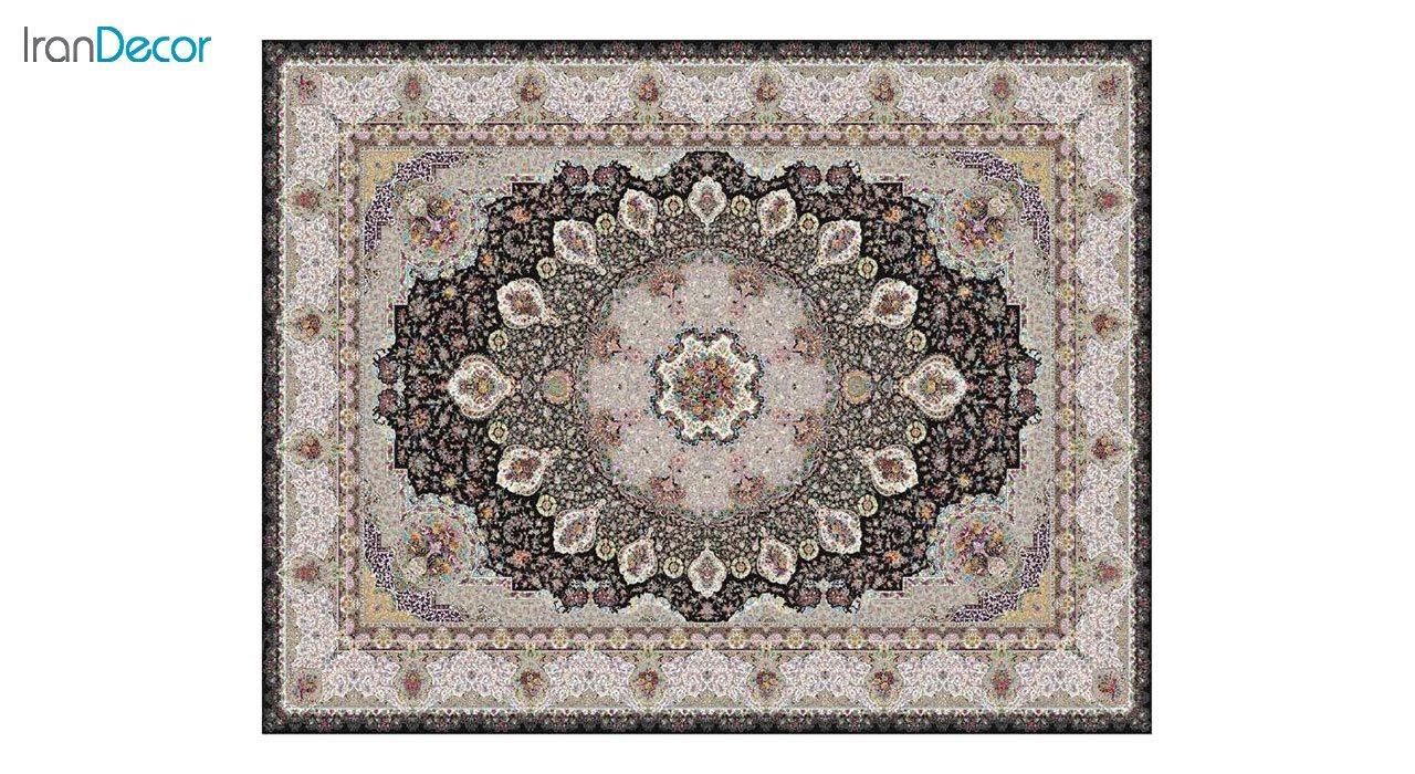 تصویر فرش ماشینی 1200 شانه کشمیر طرح گلنوش مشکی