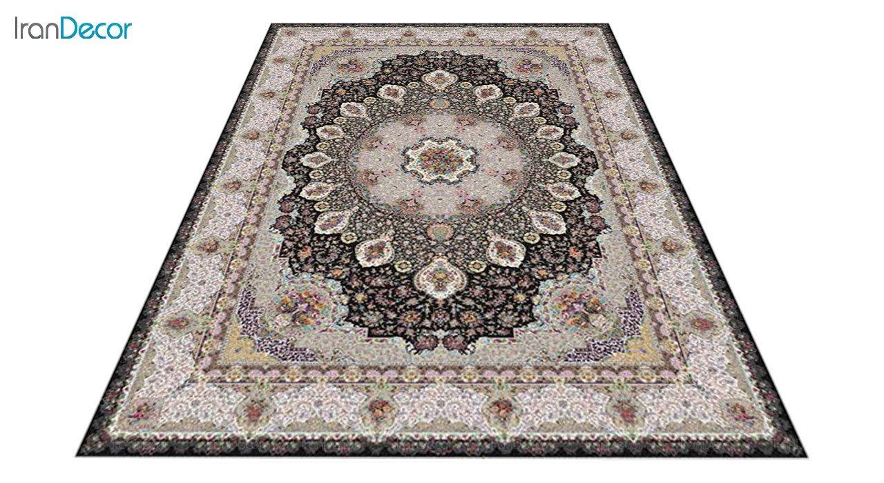 عکس فرش ماشینی 1200 شانه کشمیر طرح گلنوش مشکی