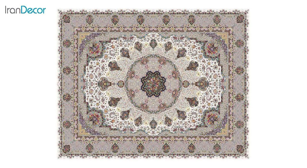 تصویر فرش ماشینی 1200 شانه کشمیر طرح گلنوش کرم