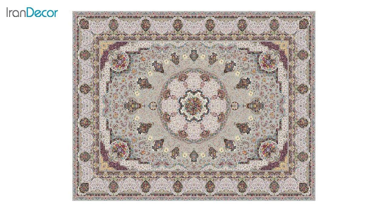 تصویر فرش ماشینی 1200 شانه کشمیر طرح گلنوش نقره ای