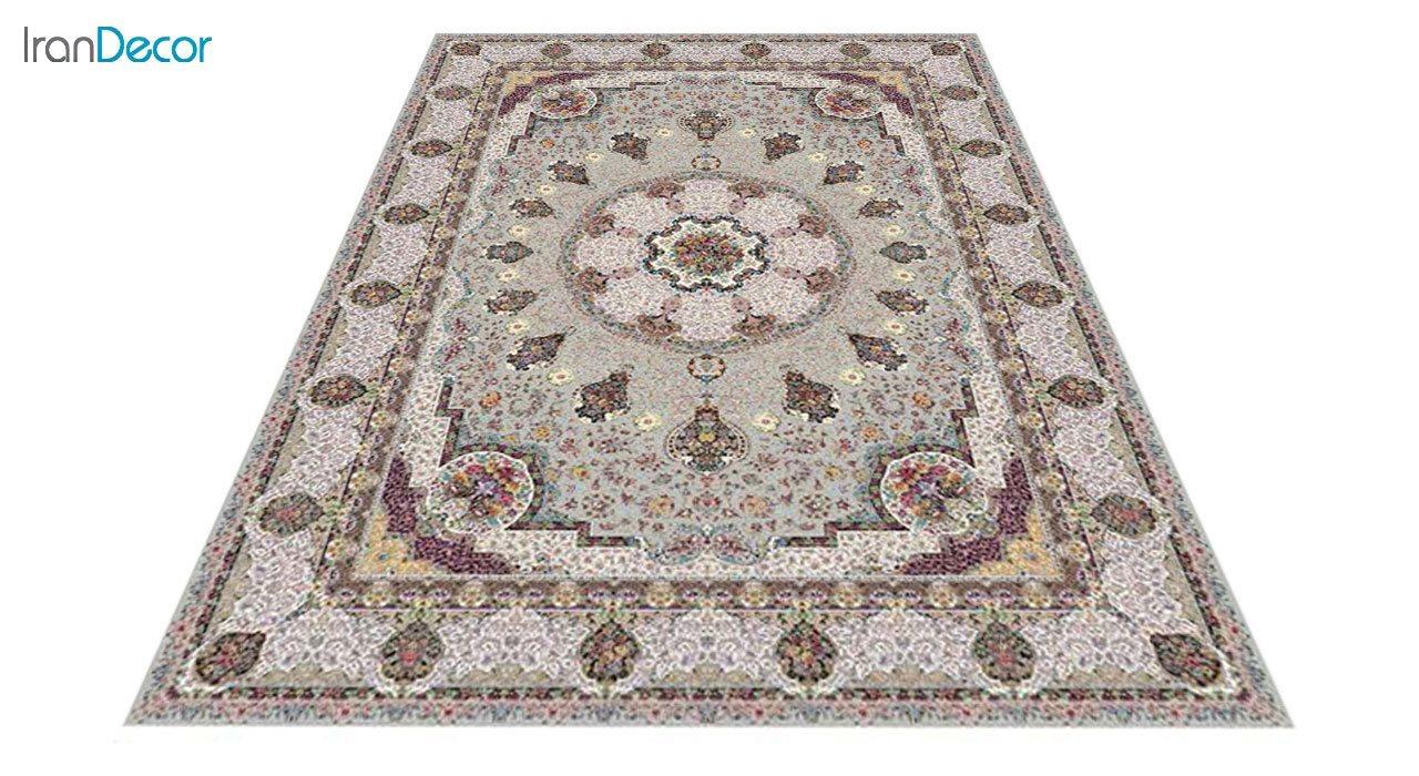 عکس فرش ماشینی 1200 شانه کشمیر طرح گلنوش نقره ای