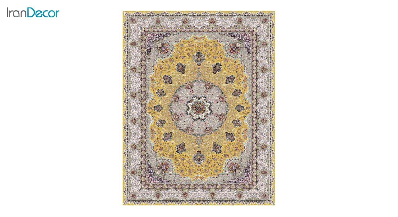 تصویر فرش ماشینی 1200 شانه کشمیر طرح گلنوش طلایی