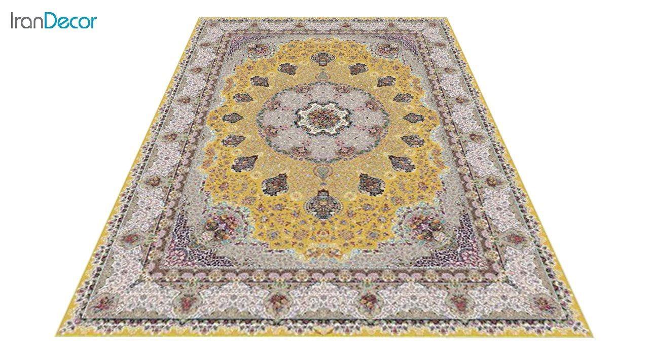 عکس فرش ماشینی 1200 شانه کشمیر طرح گلنوش طلایی