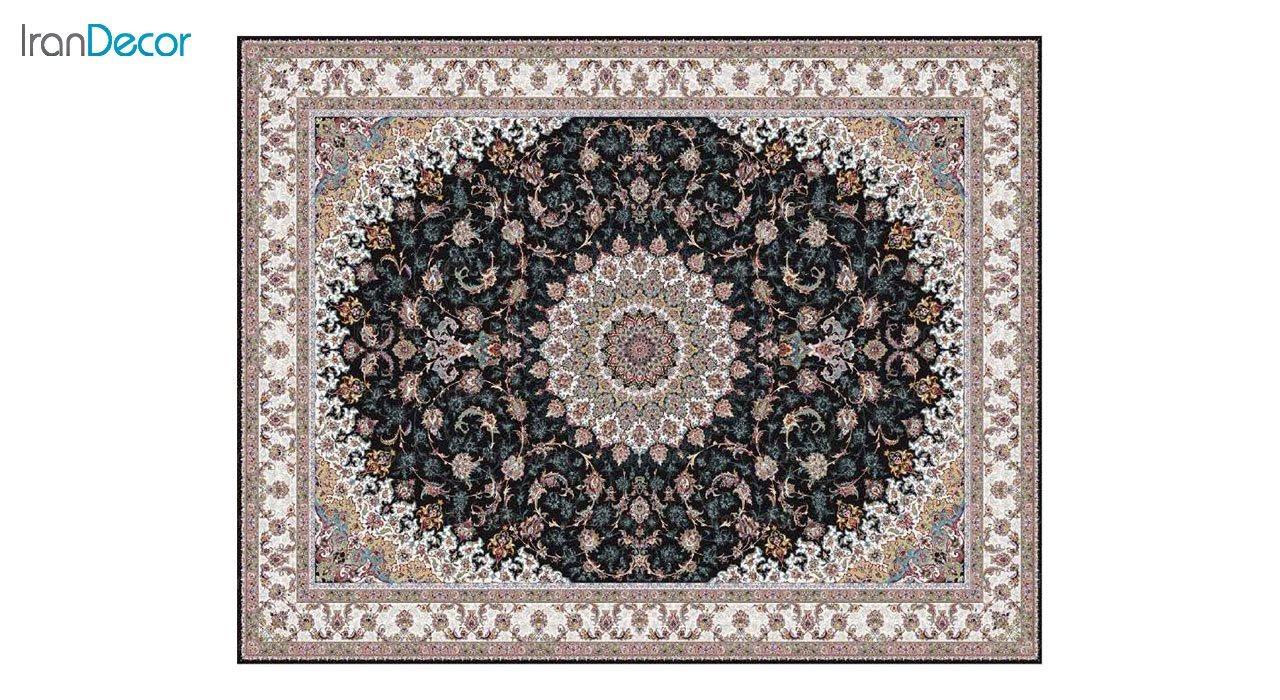 تصویر فرش ماشینی 1200 شانه کشمیر طرح اصفهان مشکی