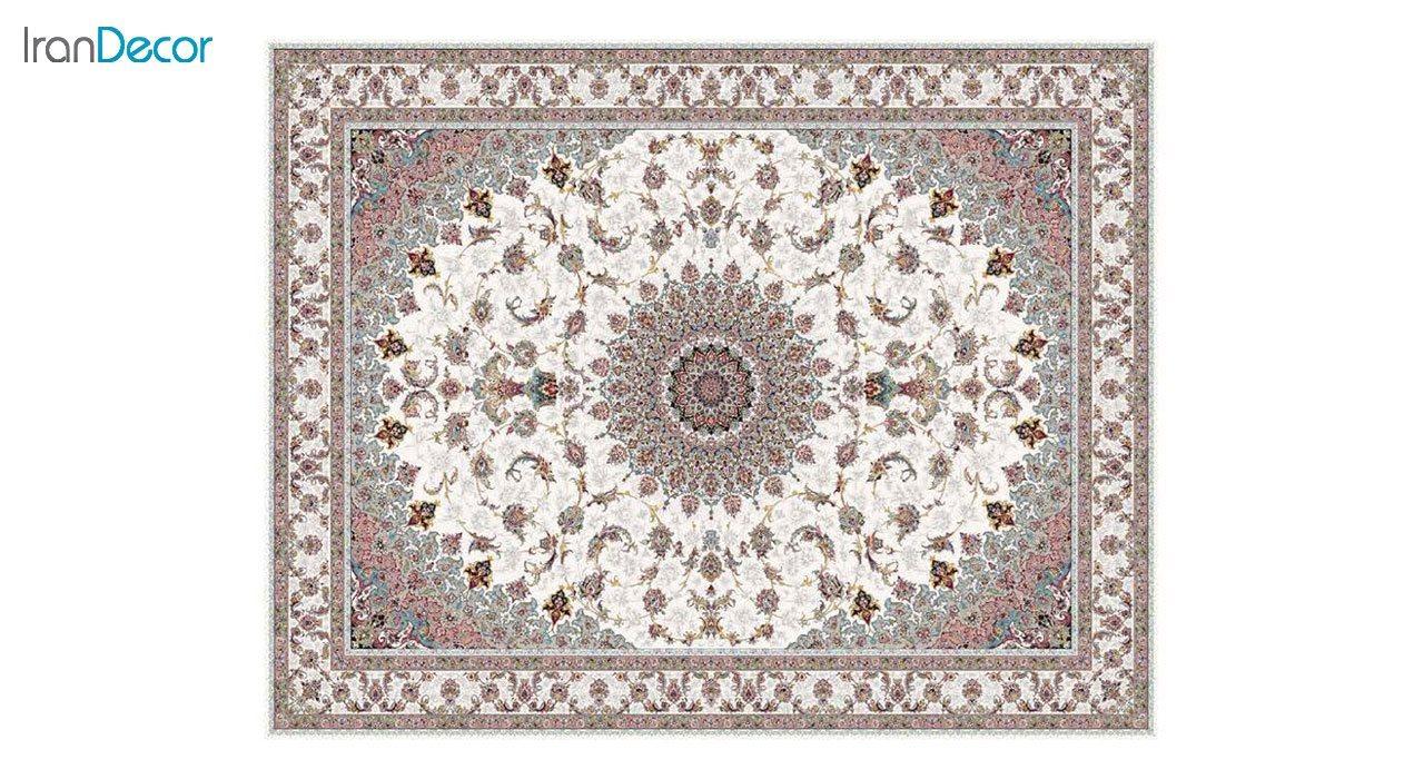 تصویر فرش ماشینی 1200 شانه کشمیر طرح اصفهان کرم