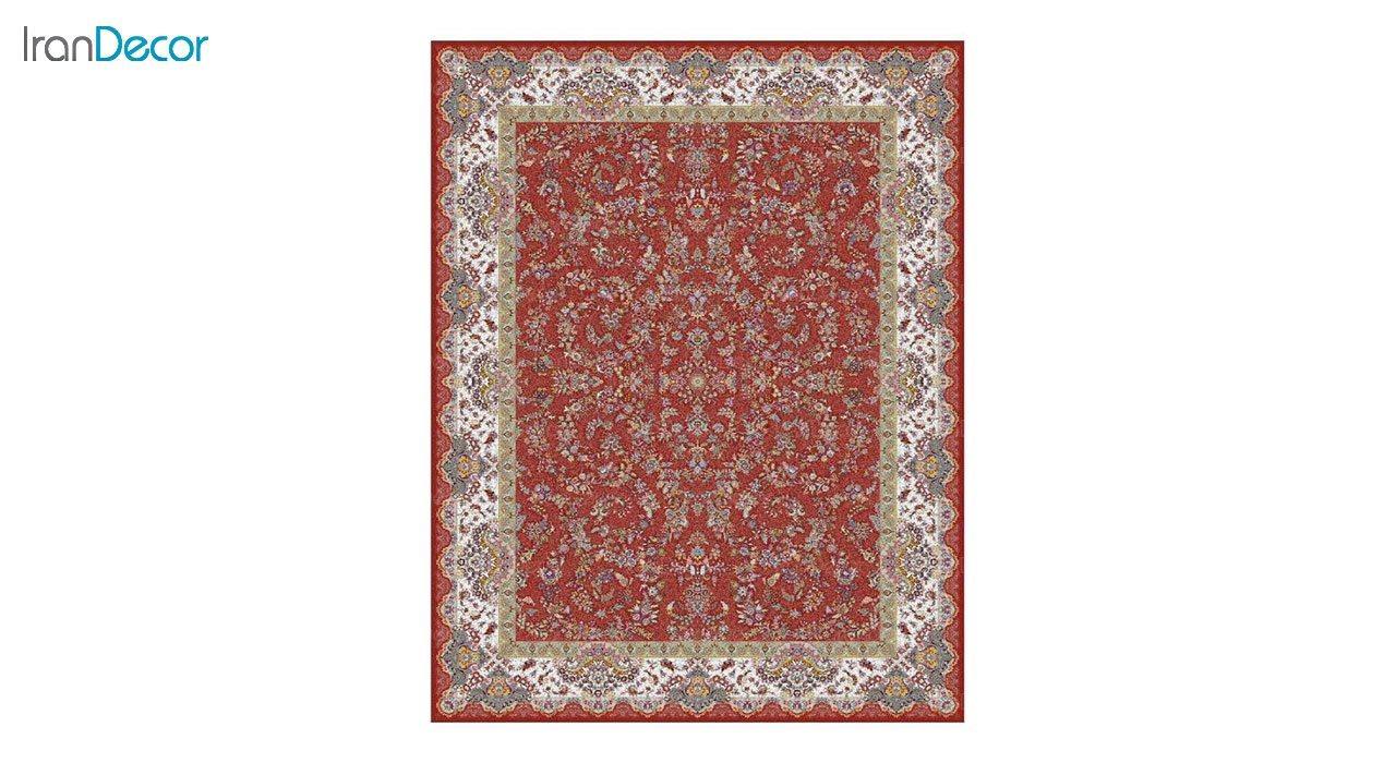 تصویر فرش ماشینی 1200 شانه کشمیر طرح مراغه قرمز