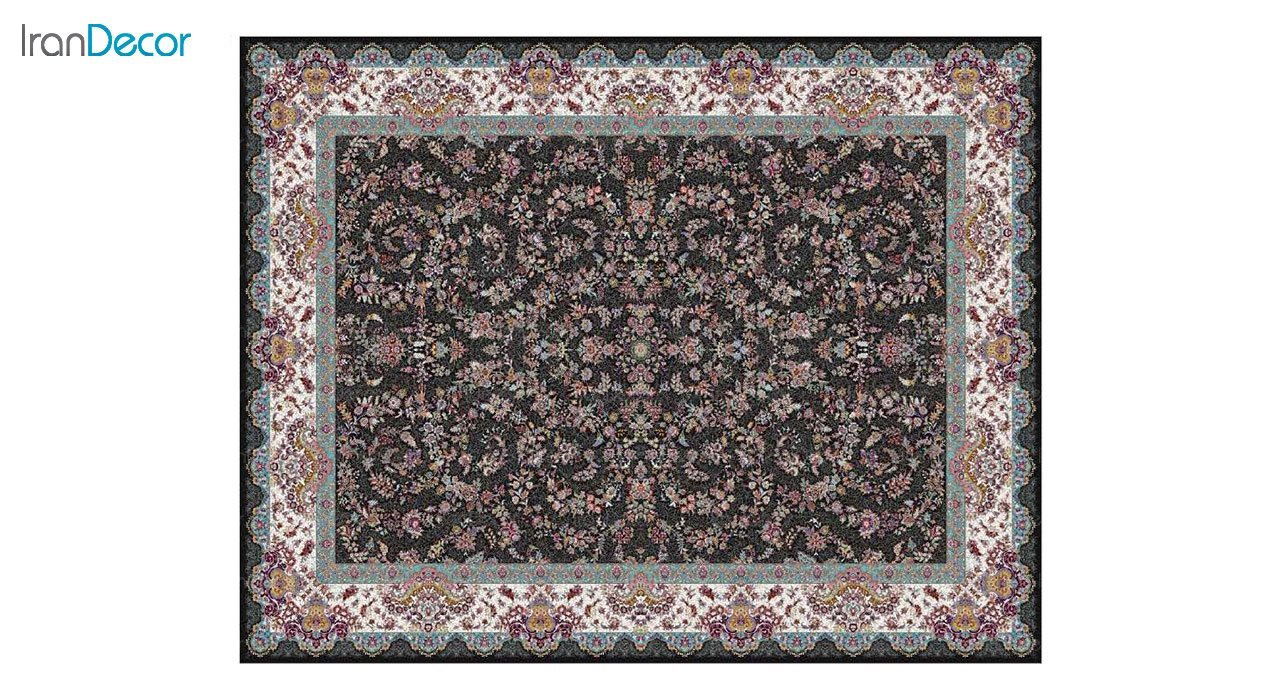 تصویر فرش ماشینی 1200 شانه کشمیر طرح مراغه مشکی