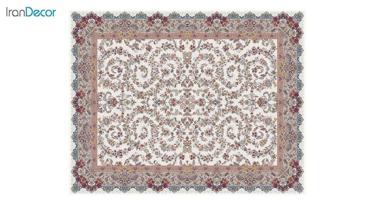 تصویر فرش ماشینی 1200 شانه کشمیر طرح مراغه کرم حاشیه نقره ای