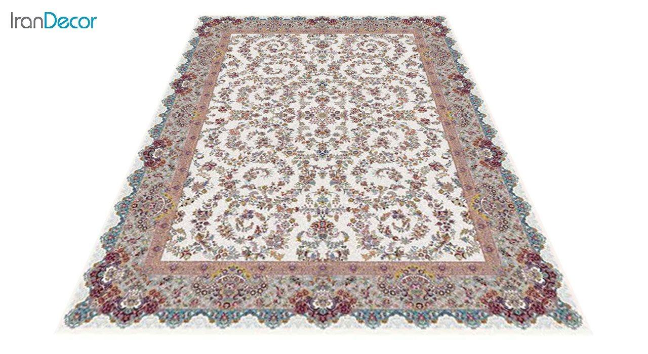 عکس فرش ماشینی 1200 شانه کشمیر طرح مراغه کرم حاشیه نقره ای