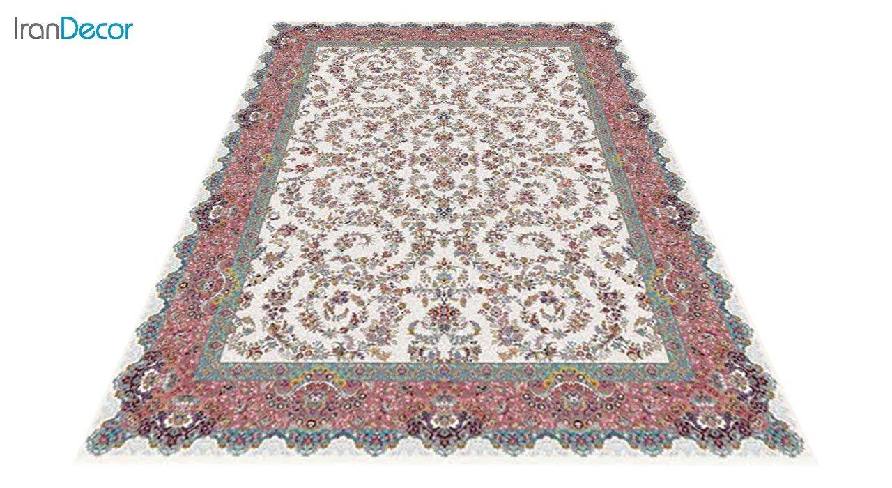 عکس فرش ماشینی 1200 شانه کشمیر طرح مراغه کرم حاشیه صورتی