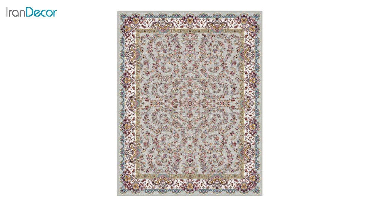 تصویر فرش ماشینی 1200 شانه کشمیر طرح مراغه نقره ای
