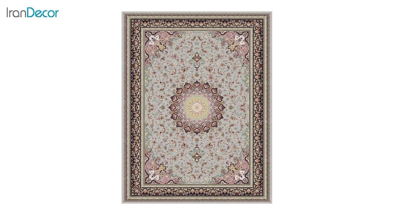 تصویر فرش ماشینی 1200 شانه کشمیر طرح مهر نقره ای