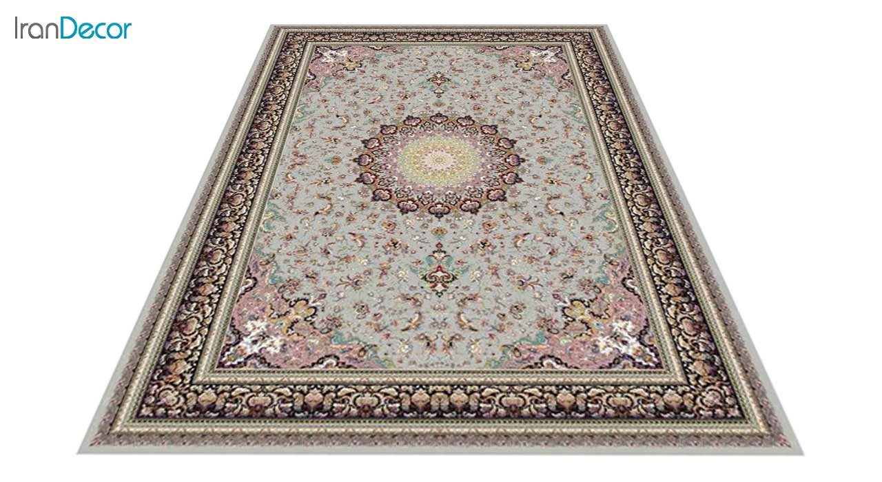 عکس فرش ماشینی 1200 شانه کشمیر طرح مهر نقره ای