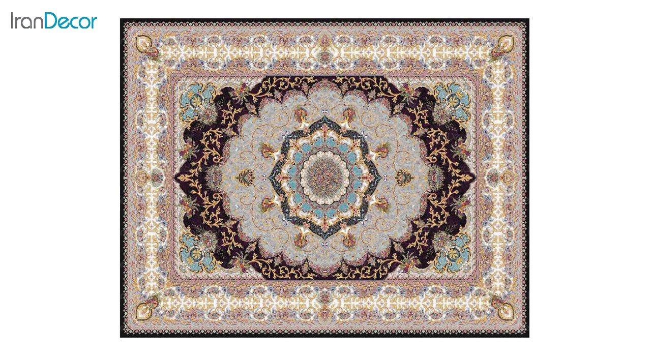 تصویر فرش ماشینی 1200 شانه کشمیر طرح پاریس مشکی
