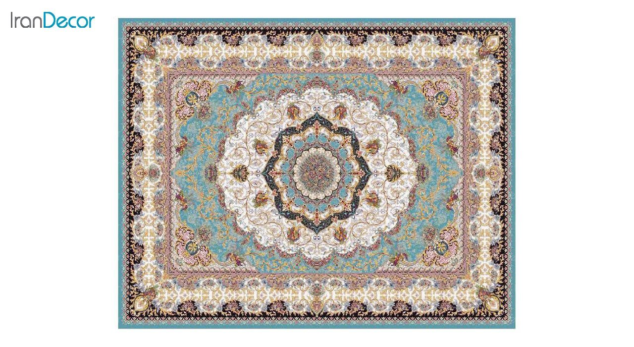 تصویر فرش ماشینی 1200 شانه کشمیر طرح پاریس آبی