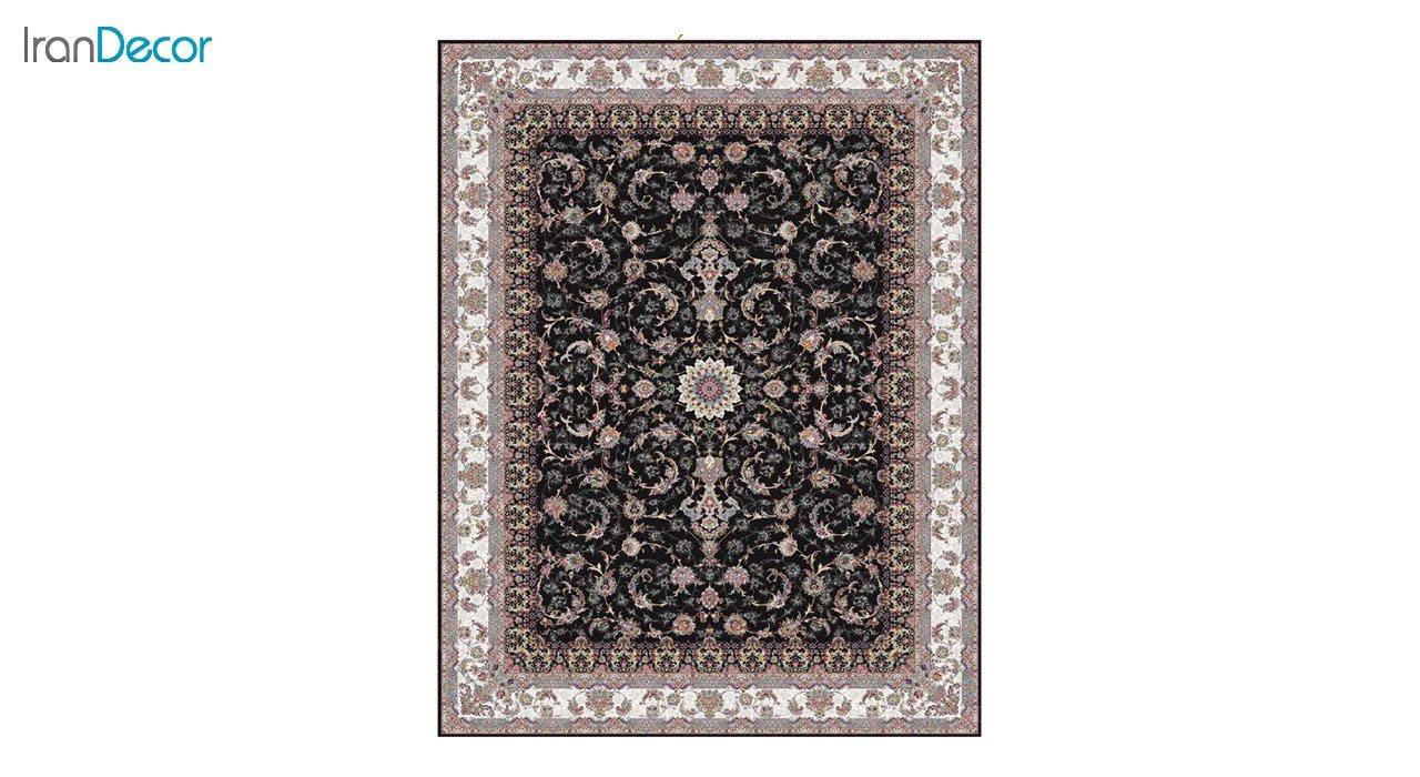 تصویر فرش ماشینی 1200 شانه کشمیر طرح شاه نشین مشکی