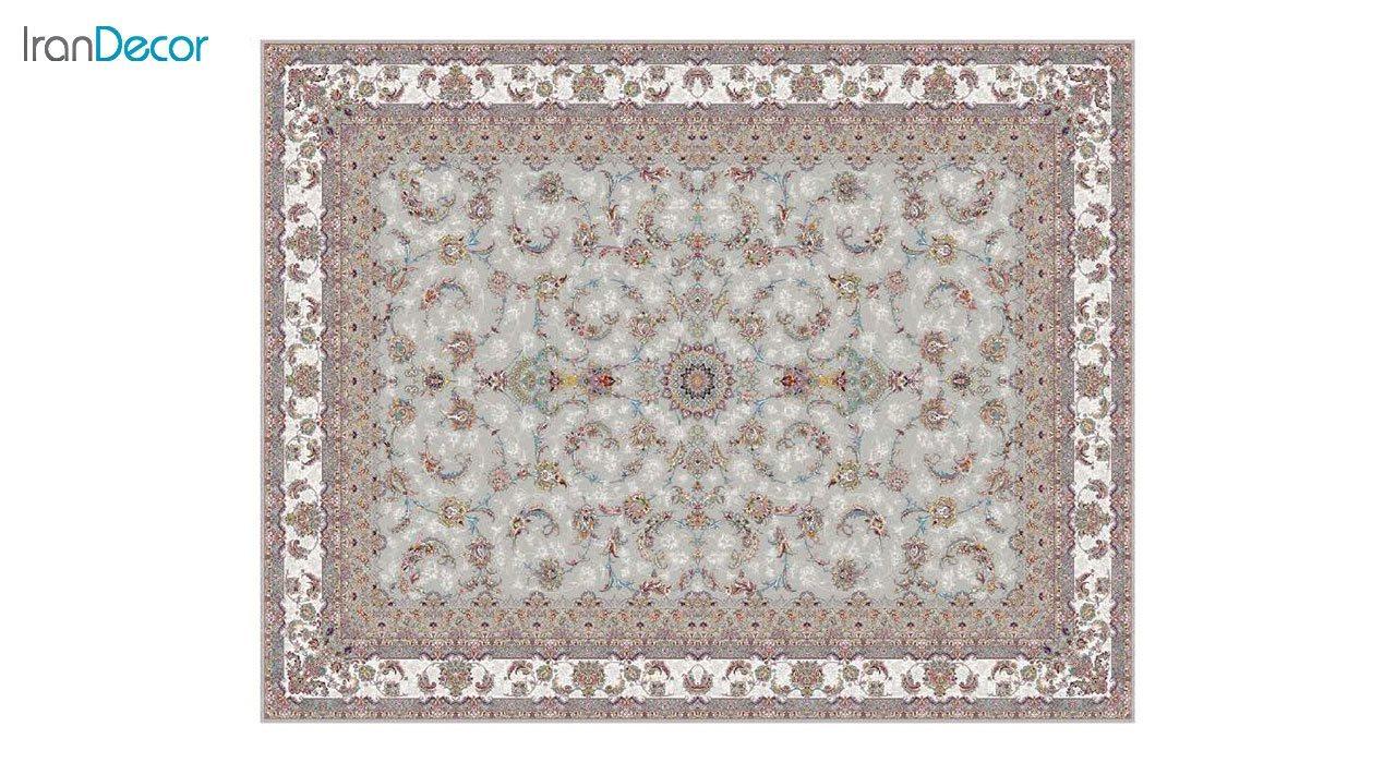 تصویر فرش ماشینی 1200 شانه کشمیر طرح شاه نشین نقره ای