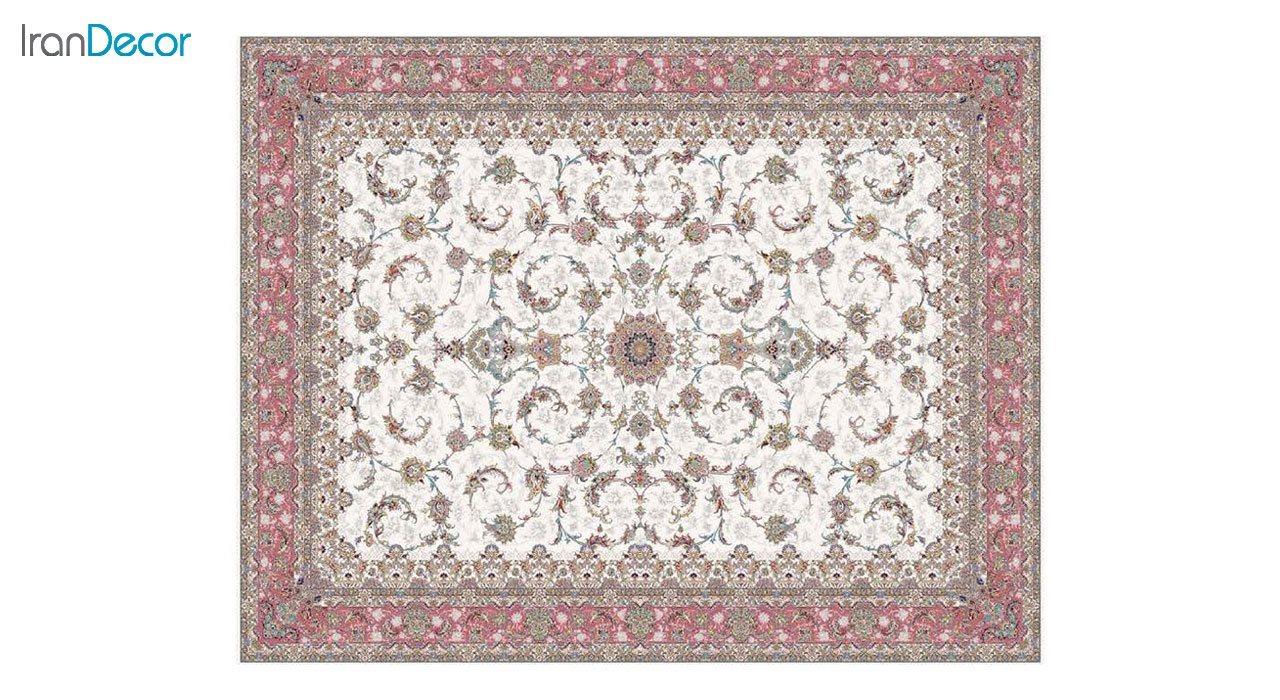 تصویر فرش ماشینی 1200 شانه کشمیر طرح شاه نشین کرم حاشیه صورتی