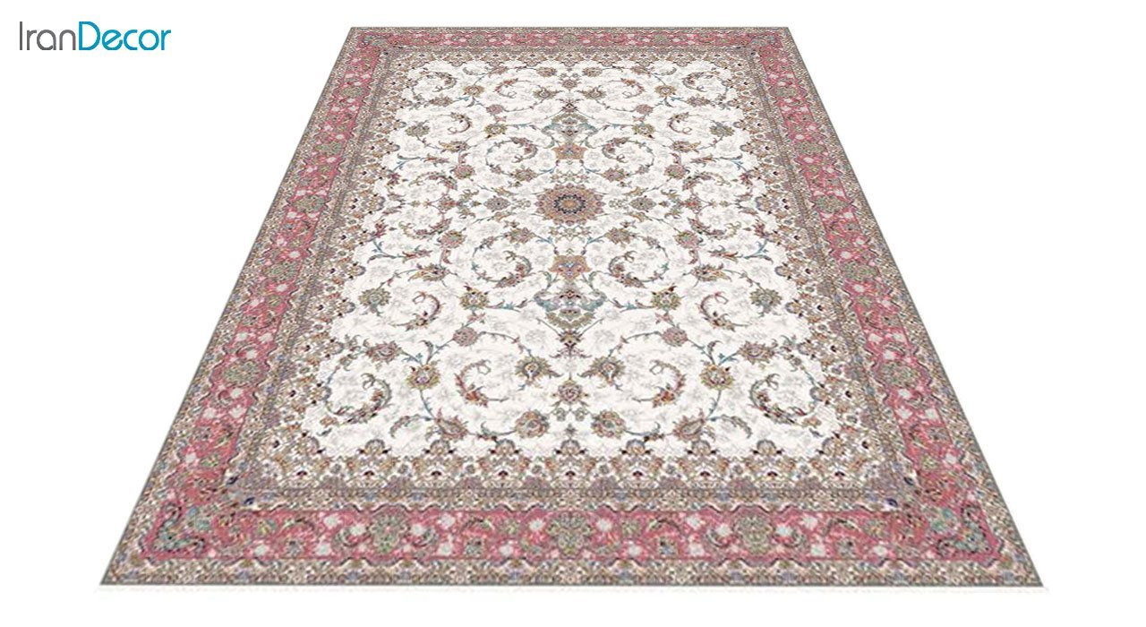 عکس فرش ماشینی 1200 شانه کشمیر طرح شاه نشین کرم حاشیه صورتی