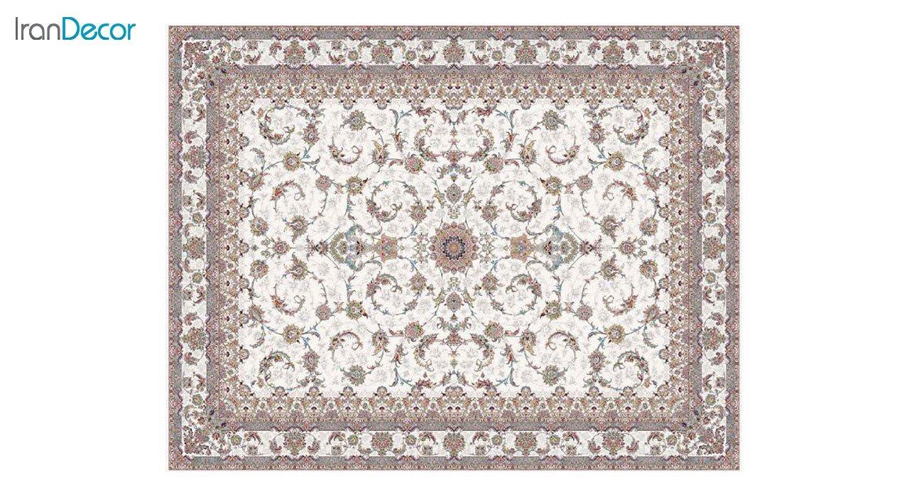 تصویر فرش ماشینی 1200 شانه کشمیر طرح شاه نشین کرم
