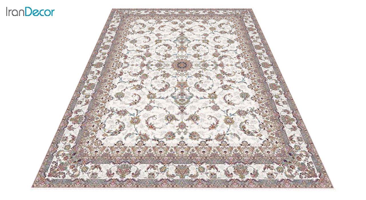عکس فرش ماشینی 1200 شانه کشمیر طرح شاه نشین کرم
