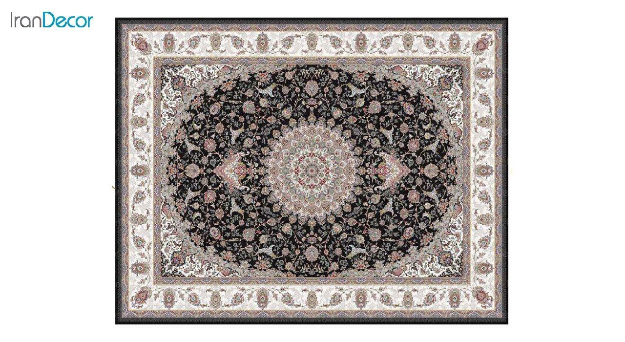 تصویر فرش ماشینی 1200 شانه کشمیر طرح طوبا مشکی