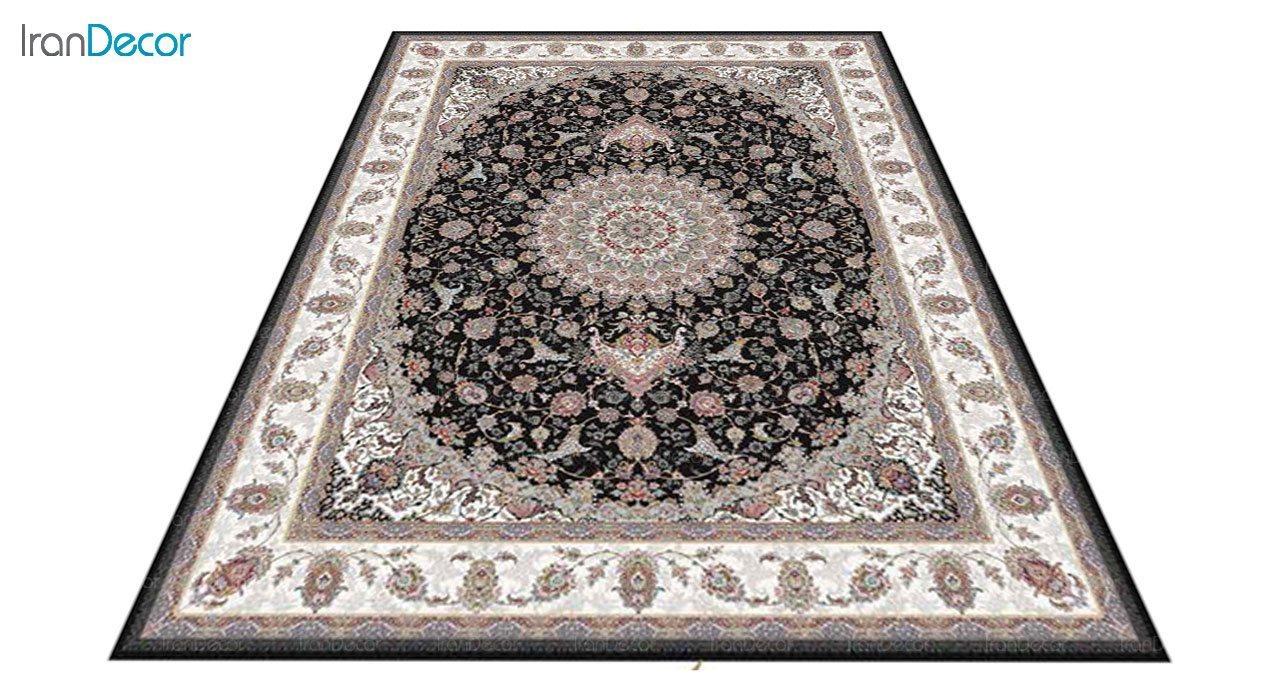 عکس فرش ماشینی 1200 شانه کشمیر طرح طوبا مشکی