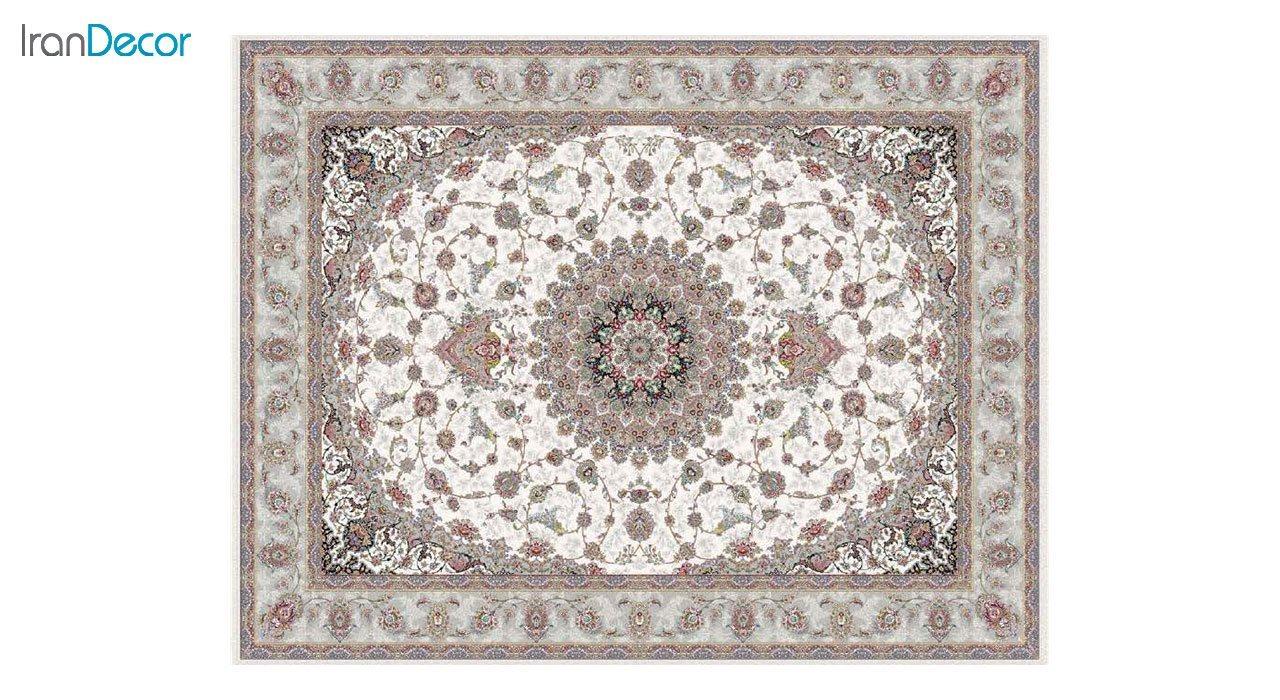 تصویر فرش ماشینی 1200 شانه کشمیر طرح طوبا کرم
