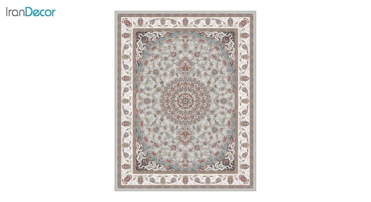 تصویر فرش ماشینی 1200 شانه کشمیر طرح طوبا نقره ای