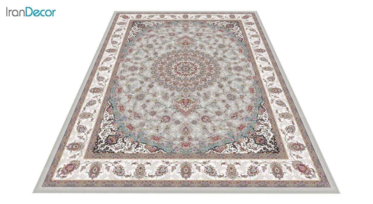 عکس فرش ماشینی 1200 شانه کشمیر طرح طوبا نقره ای
