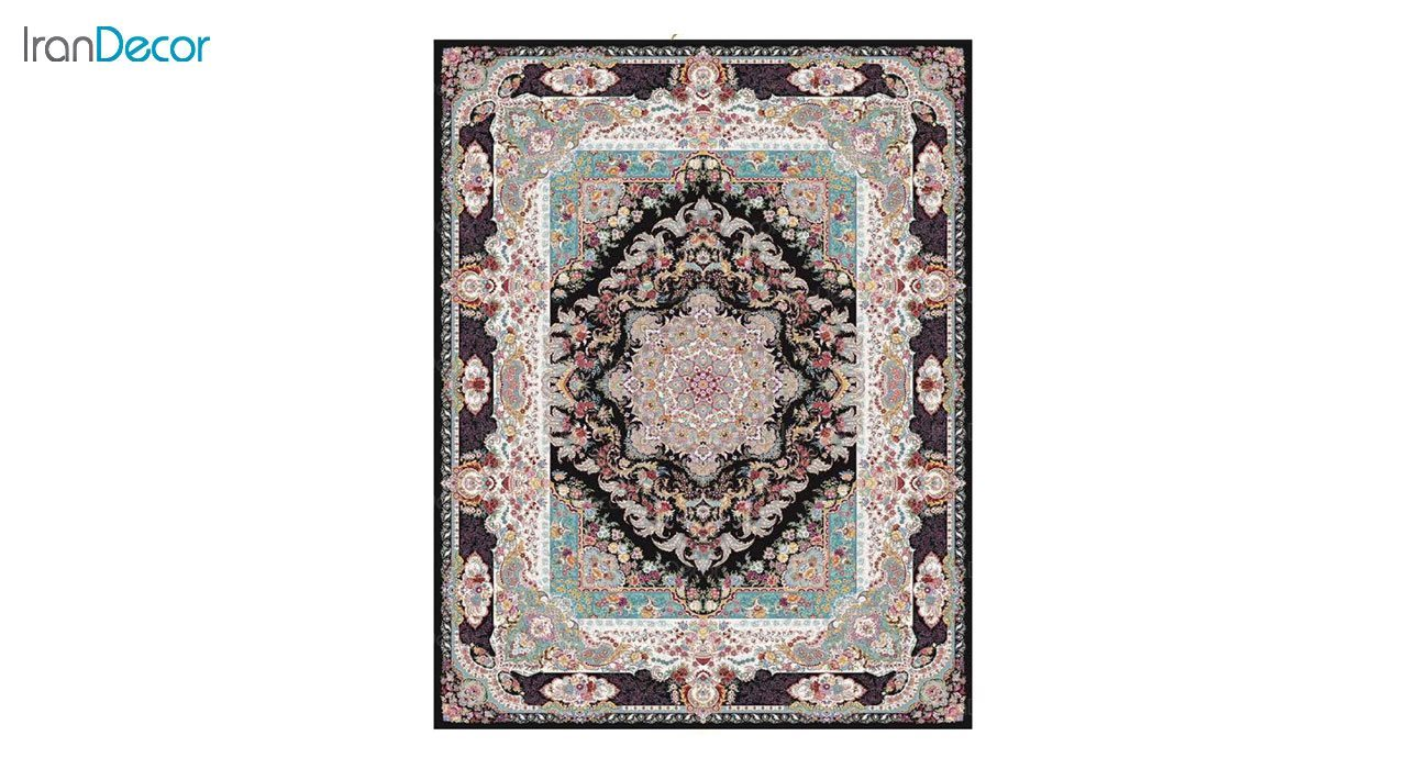 تصویر فرش ماشینی 1200 شانه کشمیر طرح مستان مشکی