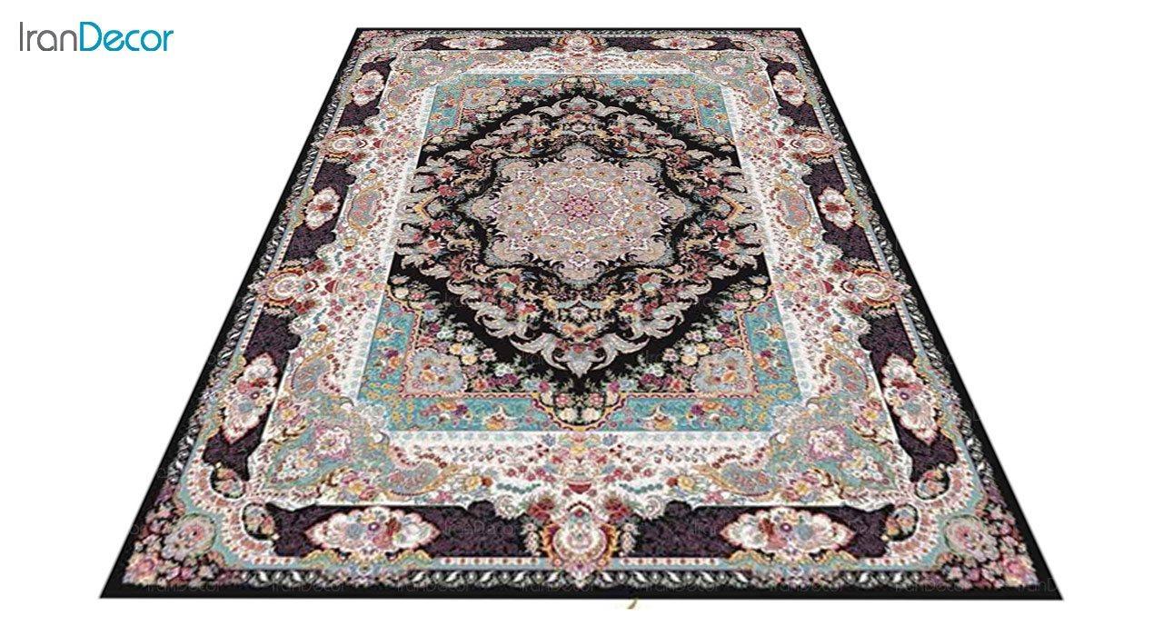 عکس فرش ماشینی 1200 شانه کشمیر طرح مستان مشکی