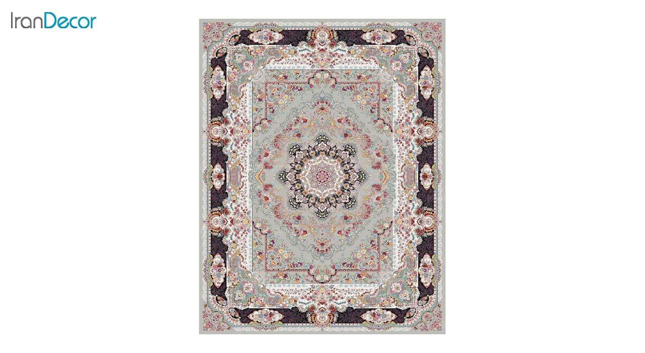 تصویر فرش ماشینی 1200 شانه کشمیر طرح مستان نقره ای