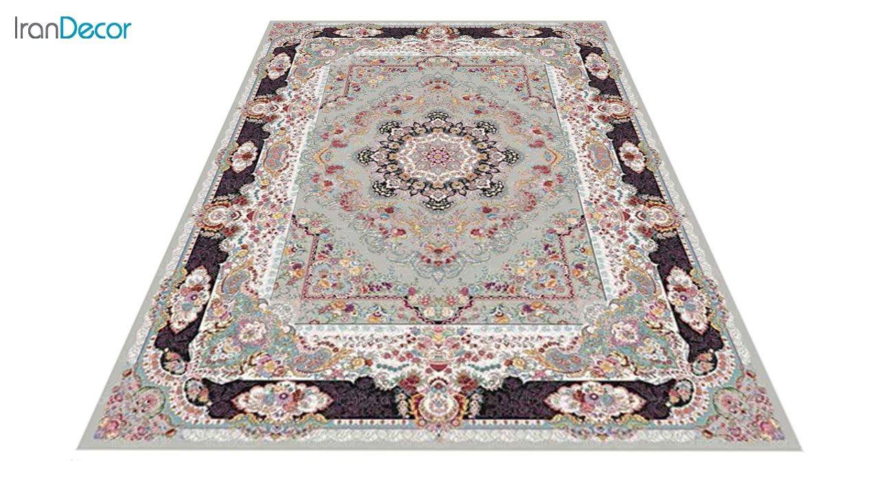 عکس فرش ماشینی 1200 شانه کشمیر طرح مستان نقره ای